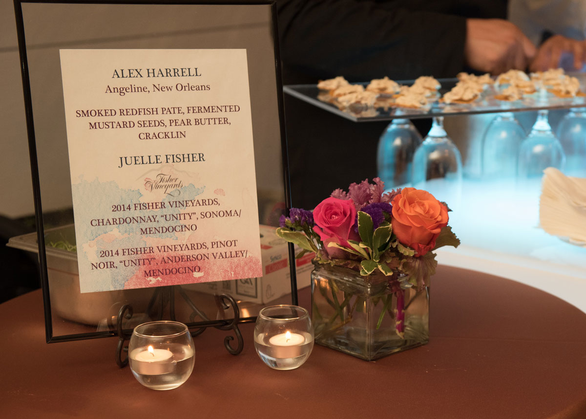 Sign detailing the contents of the hors d'oeuvres on display during the reception at the 2017 Hospitality Gala.