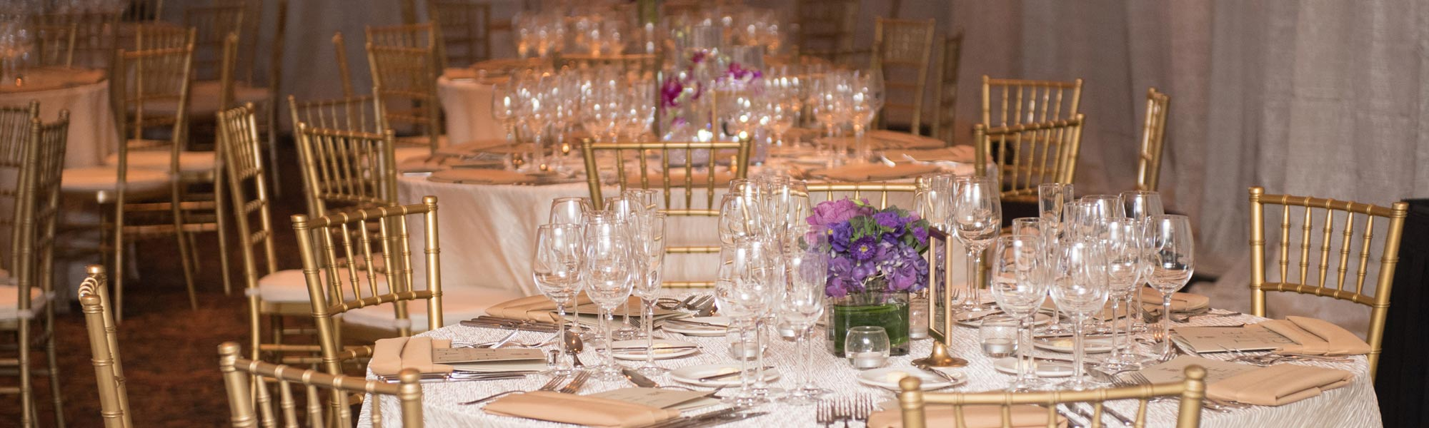 Photo from the 2016 Hospitality Gala table settings.
